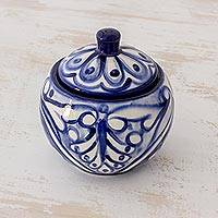 Ceramic sugar bowl, 'Sweet Blue Symmetry' - El Salvador Handcrafted Blue Ceramic Sugar Bowl
