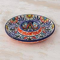 Ceramic appetizer plate, 'Majolica Garden' - Chip and Dip Appetizer Dish in Floral Majolica Ceramic