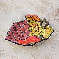 Ceramic appetizer plate, 'Petite Feast' - Colorful Harvest Theme Ceramic Appetizer Plate