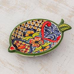 Ceramic condiment dish, 'Floral Lemon' - Versatile and Colorful Handcrafted Ceramic Condiment Dish