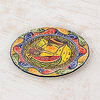 Ceramic luncheon plate, 'Gifts of the Tropics' - Artisan Crafted Ceramic Plate with Tropical Fruit Motifs
