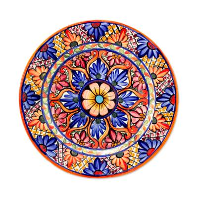 Ceramic dinner plate, 'Concentric Gardens' - Artisan Handcrafted Ceramic Plate with Colorful Flowers