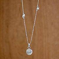 Sterling silver pendant necklace, 'Earth's Rotations' - Sterling Silver Cosmos Pendant Necklace from Guatemala