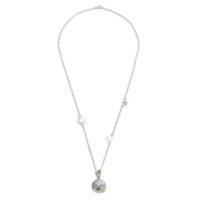 Sterling Silver Cosmos Pendant Necklace from Guatemala