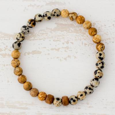 Jasper beaded stretch bracelet, 'Estimable Beauty' - Jasper and Pinewood Beaded Stretch Bracelet from Guatemala