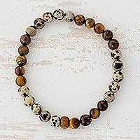 Tiger's eye and jasper beaded stretch bracelet, 'Loving Earth' - Tiger's Eye and Jasper Beaded Bracelet from Guatemala