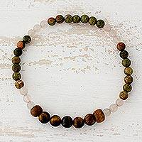 Multi-gemstone beaded stretch bracelet, 'Experience Nature' - Tiger's Eye Rose Quartz and Unakite Bracelet from Guatemala