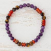 Multi-gemstone beaded stretch bracelet, 'Circus of Colors' - Tiger's Eye Amethyst and Agate Bracelet from Guatemala
