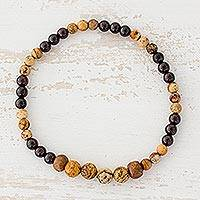 Jasper and garnet beaded stretch bracelet, 'Morning Coffee' - Jasper and Garnet Beaded Stretch Bracelet from Guatemala