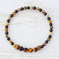 Multi-gemstone beaded stretch bracelet, 'Natural Earth' - Tiger's Eye Jasper and Garnet Bracelet from Guatemala