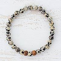 Dalmatian jasper beaded stretch bracelet, 'Natural Polka Dots' - Dalmatian Jasper Beaded Stretch Bracelet from Guatemala