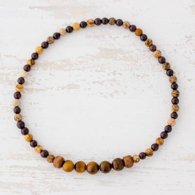Multi-gemstone beaded stretch anklet, 'Earthy Soul' - Tiger's Eye Jasper and Garnet Beaded Anklet from Guatemala
