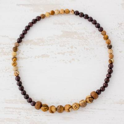 Jasper and garnet beaded stretch anklet, 'Journey Road' - Jasper and Garnet Beaded Stretch Anklet from Guatemala