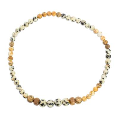 Jasper and Pinewood Beaded Stretch Anklet from Guatemala