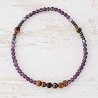 Multi-gemstone beaded stretch anklet, 'Mystical Love' - Tiger's Eye Amethyst and Sodalite Anklet from Guatemala