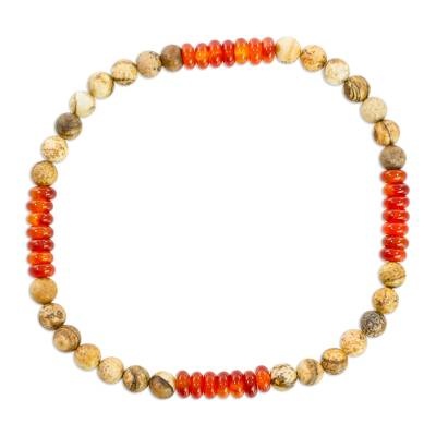 Jasper and Agate Beaded Stretch Anklet from Guatemala
