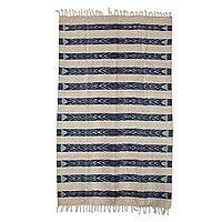 Wool area rug, 'Jasper Inspiration' (4x6) - Striped Wool Area Rug in Navy and Ivory (4x6) from Guatemala