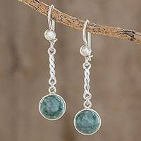 Jade dangle earrings, 'Drops of Hope' - Sterling Silver Green Jade Dangle Earrings from Guatemala