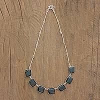 Jade pendant necklace, 'Natural Glisten' - Square Jade and Silver Pendant Necklace from Guatemala