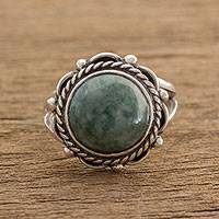 Jade cocktail ring, 'Ancient Sunrise in Light Green' - Light Green Jade Cocktail Ring from Guatemala