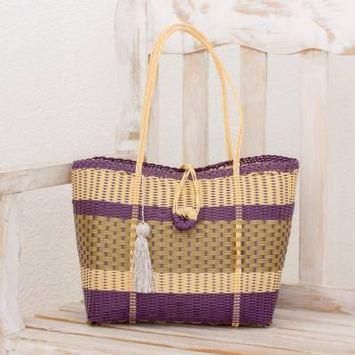 Recycled plastic tote, 'Pleasing Combination' - Recycled Plastic Tote in Cornsilk and Purple