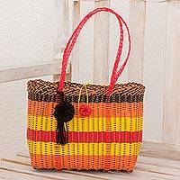 Recycled plastic tote, 'Sunny Picnic' - Handcrafted Recycled Plastic Tote Handbag from Guatemala