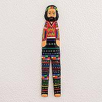 Wood wall art, 'Colors of Home' - Pinewood Quitapenas Doll Wall Art from Guatemala