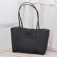 Recycled plastic tote, 'Undeniable Beauty in Black' - Handcrafted Black Recycled Plastic Tote from Guatemala