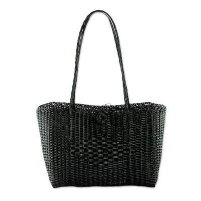 Handcrafted Black Recycled Plastic Tote from Guatemala