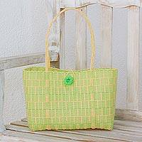 Recycled tote handbag, 'Spring Day' - Guatemalan Lime and Buff Recycled Plastic Tote Handbag