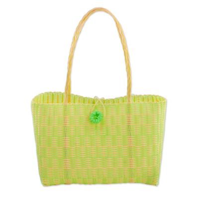 Guatemalan Lime and Buff Recycled Plastic Tote Handbag