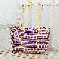 Recycled plastic tote, 'Delightful Day in Blue-Violet' - Handwoven Recycled Plastic Tote in Blue-Violet and Cornsilk