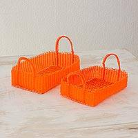 Recycled plastic baskets, 'Home Warmth in Tangerine' (pair) - Two Recycled Plastic Baskets in Tangerine from Guatemala