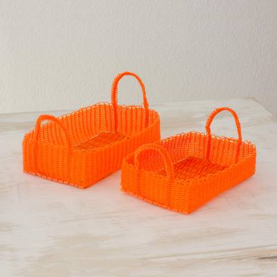Handwoven baskets, Home Warmth in Tangerine (pair)