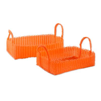 Two Recycled Plastic Baskets in Tangerine from Guatemala