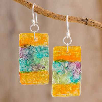 Recycled CD dangle earrings, 'Celebrate Creativity' - Colorful Recycled CD Dangle Earrings from Guatemala