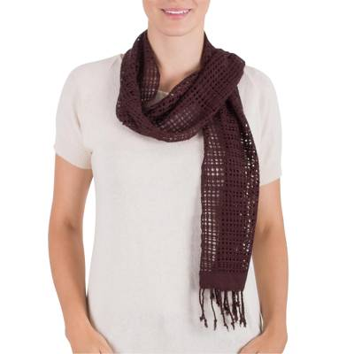 Rayon scarf, 'Espresso Bliss' - Hand Woven Dark Brown Rayon Wrap Scarf from Guatemala