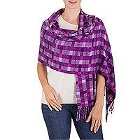 Rayon shawl, 'Purple Weave' - Hand Woven Striped Purple Rayon Shawl from Guatemala