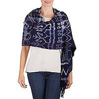 Rayon shawl, 'Guatemalan Woods' - Hand Woven Blue and White Rayon Shawl from Guatemala
