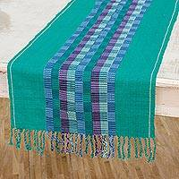 Cotton table runner, 'Luxury Dining' - Handwoven Cotton Table Runner in Viridian from Guatemala