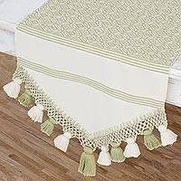 Cotton table runner, 'Hopeful Patterns in Sage' - Handwoven Cotton Table Runner in Sage from Guatemala