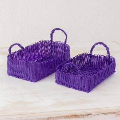 Handwoven baskets, 'Home Warmth in Blue-Violet' (pair) - Two Recycled Handwoven Baskets in Blue-Violet from Guatemala
