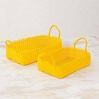 Recycled plastic baskets, 'Home Warmth in Daffodil' (pair) - Two Recycled Plastic Baskets in Daffodil from Guatemala