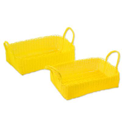 Two Recycled Plastic Baskets in Daffodil from Guatemala