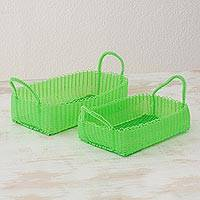Recycled plastic baskets, 'Home Warmth in Lime' (pair) - 2 Handwoven Recycled Plastic Baskets in Lime from Guatemala