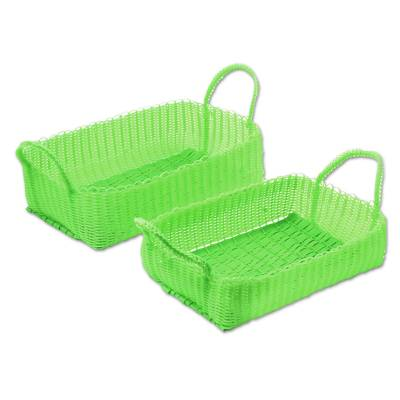 2 Handwoven Recycled Plastic Baskets in Lime from Guatemala