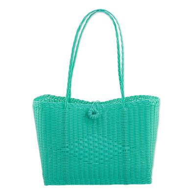 Cerulean Recycled Plastic Tote Handbag from Guatemala