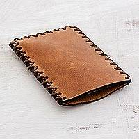 Leather card case, 'Self-Made' - Handcrafted Leather Card Case in Sepia from Guatemala
