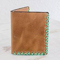 Leather wallet, 'Spring Desert' - Leather Bifold Wallet in Burnt Sienna from Guatemala