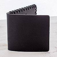 Leather wallet, 'Sleek Black' - Handcrafted Leather Flap Wallet in Black from Guatemala